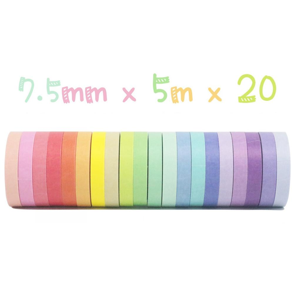 20pcs Rainbow Color Lace Paper Washi Tape Set 7.5mm Decoration Adhesive Masking Tapes for Album Journal Frame Stickers A6165