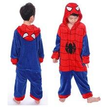 Kids Pajamas Kigurumi Animal Unicorn Stitch Spiderman Pikachu For Boys Girls Flannel Hooded Children Sleepwear Cosplay