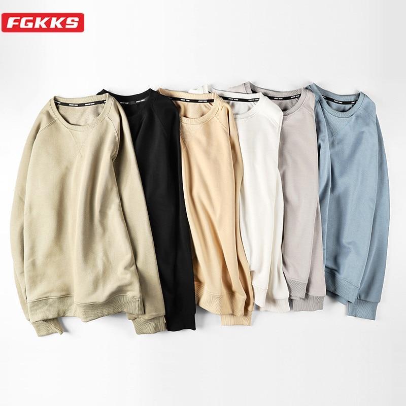 FGKKS Fashion Brand Men Hoodies Sweatshirts 2020 New Men's Slim Fit O-Neck Sweatshirt Cotton Solid Color Sweatshirt Male