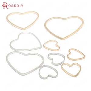 50PCS 9x9MM 13x14MM 19x21MM Gold Color Brass Heart Shape Closed Rings Connect Rings Diy Jewelry Findings Accessories wholesale