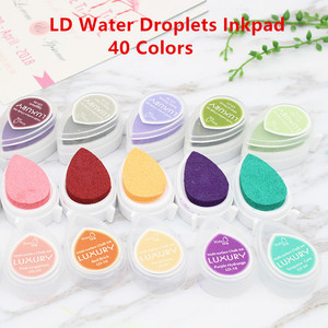 DIY 40 Colors 1pcs Creative Scrapbooking Oil Rubber Stamps Ink Pad Drop Shape Kwaii Inkpad Wedding Book Decoration Party