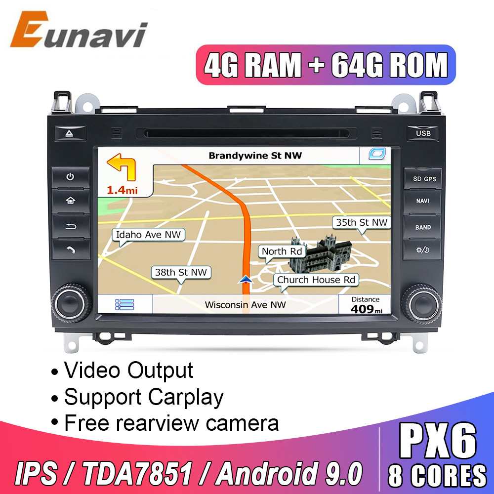 Eunavi 2 din <font><b>Android</b></font> 9.0 Car DVD <font><b>radio</b></font> gps for <font><b>Mercedes</b></font> <font><b>Benz</b></font> B200 A B Class <font><b>W169</b></font> W245 Viano Vito W639 Sprinter W906 IPS TDA7851 image