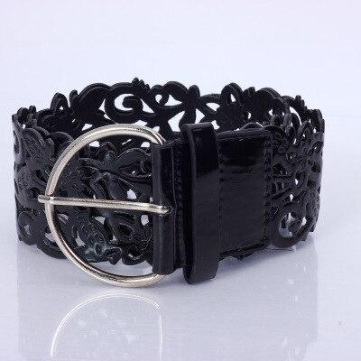 Модный ажурный декоративный широкий пояс, женский пояс, модный кожаный пояс, ретро пояс - Цвет: black