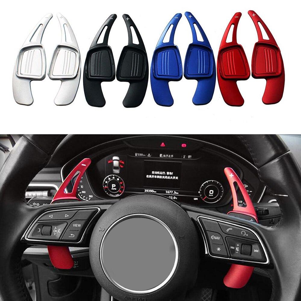 Автомобильный спортивный рычаг переключения передач на руль, 2 шт./лот, подходит для Audi A3 / S3 facelift A5 S5 2017 A4 B9 Q7 2016-2017 TT TTS Red