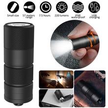 미니 USB 충전식 LED 손전등 휴대용 키 체인 토치 IPX8 방수 야외 캠핑 손전등 10180 배터리