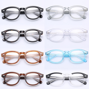 Image 3 - إطار نظارات جوني ديب دائري من مادة خلات إطار نظارات بصرية إطار عدسات شفافة للنساء والرجال وصفة طبية لقصر النظر