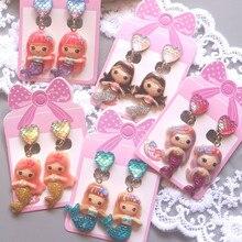 Children's Cartoon Pierceless Earrings Sweet Cute Ear Clip Star Magic Pendant Mermaid Princess Ear Rings mermaid magic