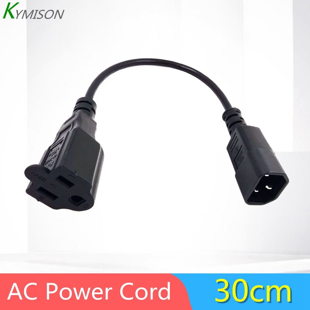 1ft IEC 320 C14 Male Plug to NEMA 5-15R <font><b>3</b></font> Prong Female PC <font><b>Power</b></font> Adapter <font><b>Cable</b></font> Black image