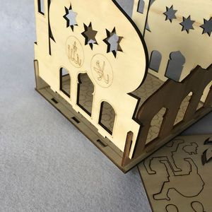 Image 2 - Drop Shipping Wooden Eid Mubarak Ramadan Home Party Ornament Decor Muslim Islamic Palace Puzzle Storage Box Gift DIY