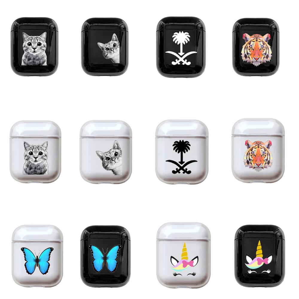 Hard Case For Apple Airpods 1&2 Case Tiger Cat Butterfly Wireless Bluetooth Earphone Case For Airpods Headphone Protective Case