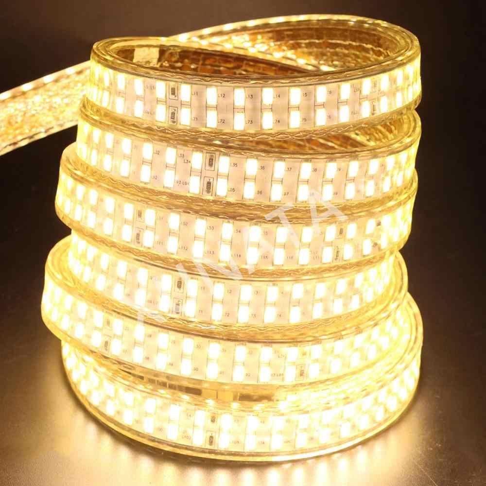 220 v 110 v 5730 led tira de luz 240 leds/m dupla fileira led fita de fita impermeável com ue/eua/reino unido interruptor plug branco/branco quente