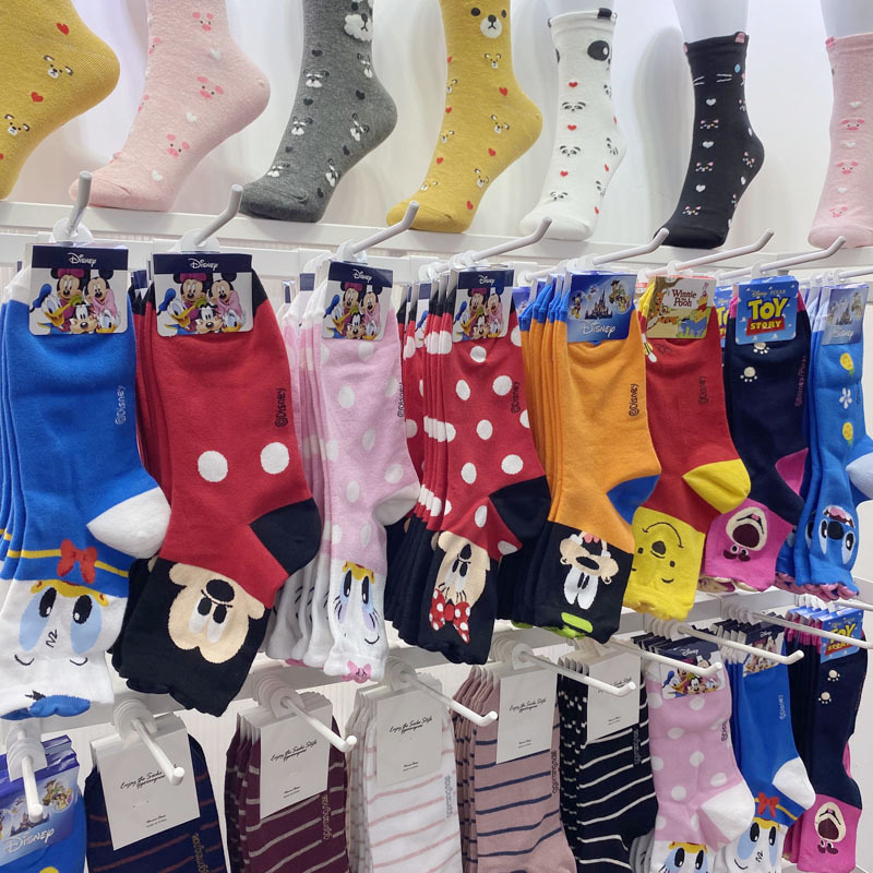 Disney Mid Tube Socks Donald Duck Mickey Cartoon Cotton Socks Cute Stitch Minnie Mickey Socks