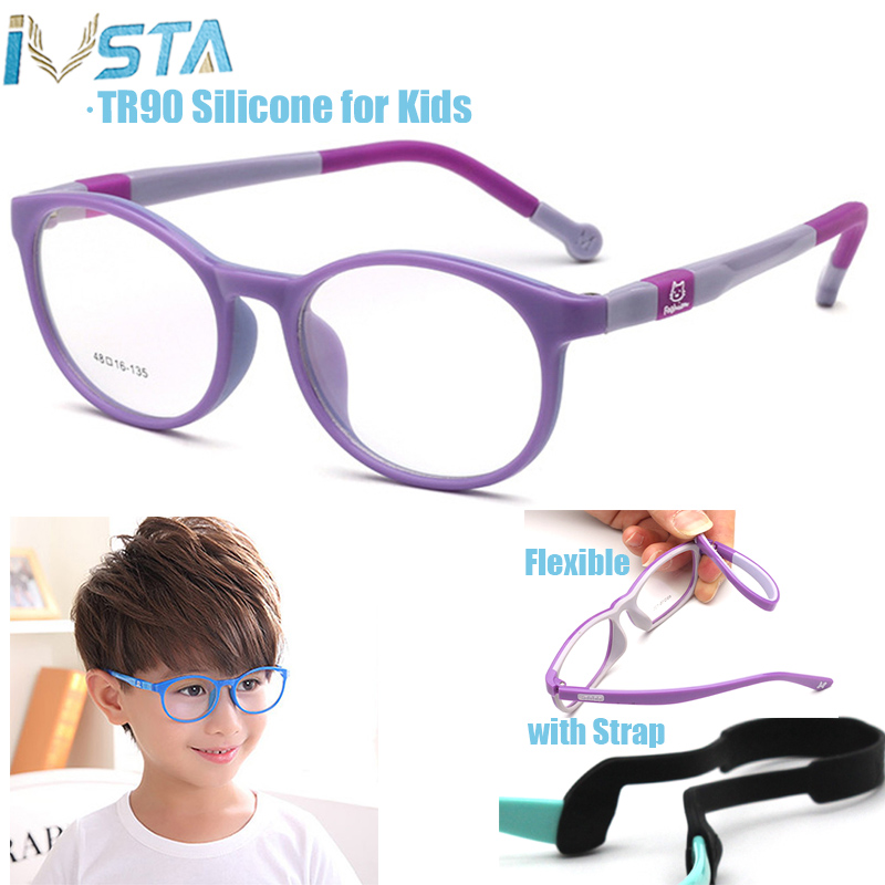 IVSTA Kids Glasses With Strap Round TR90 Prescription Eyeglasses Myopia Children Silicone Rubber Cat Eye Girl Pink Spectacle