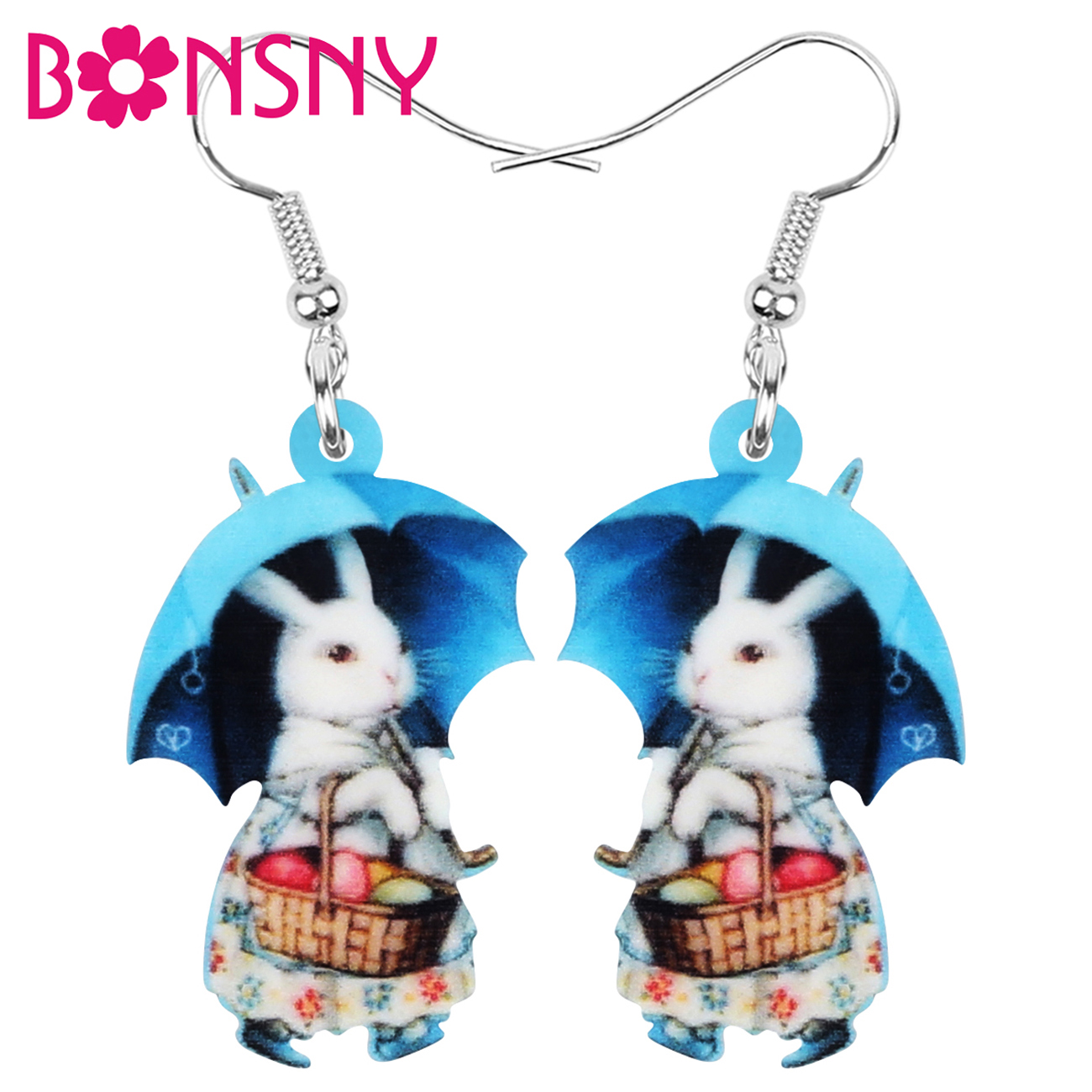 Bonsny Acrylic Easter Hare Rabbit Bunny Basket Umbrella Earrings Animal Dangle Drop Jewelry For Women Girls Classic Party Gift