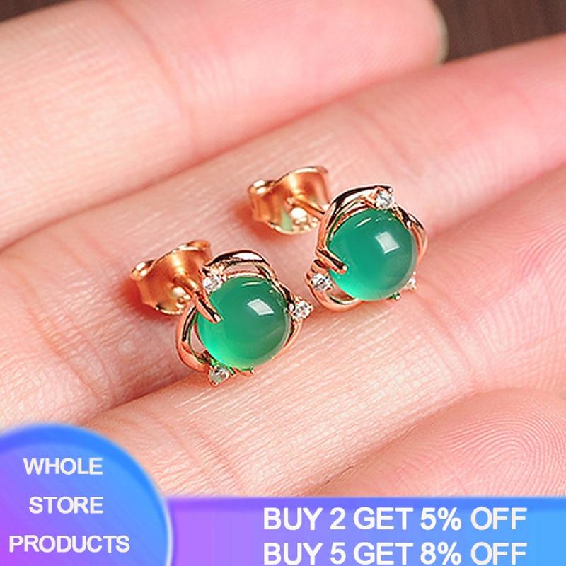 YANHUI Vintage Round Emerald Gemstone Stud Earrings For Women 100% Real 925 Sterling Silver Anniversary Party Women Earrings