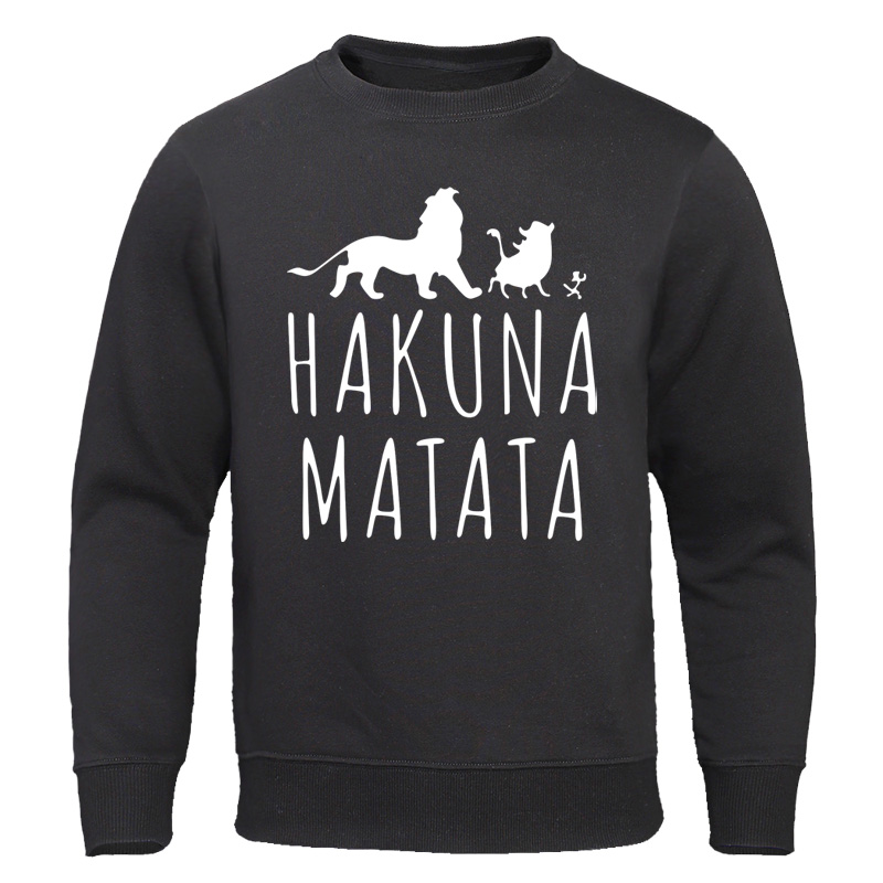 HAKUNA MATATA Printed Men's Hoodies 2020 Autumn Men Clothing Male Sweatshirts Cartoon Man Tracksuit Fashion Brand Streetwear