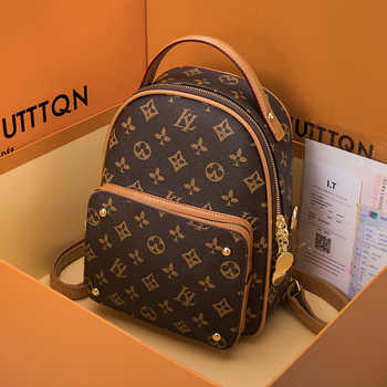 2020 New Fashion Women Backpack Genuine Leather Student Small School Bag Flower Printing Ladies Louis Brand Clothes Luxury Cc Gg