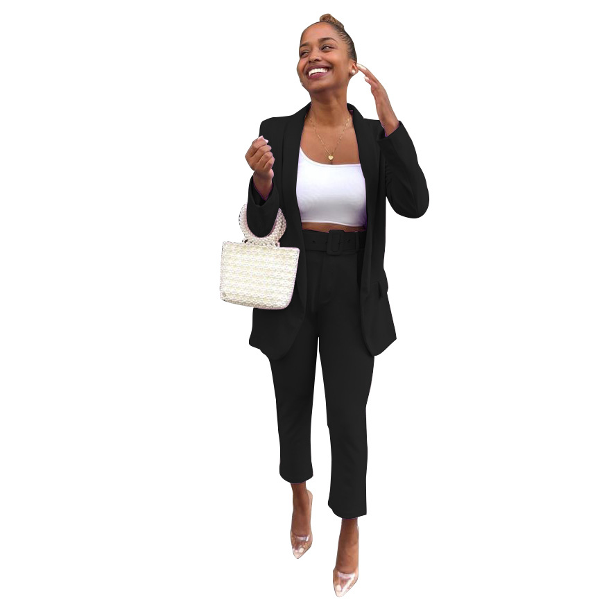 Echoine Purple Women Suits Elegant Office Ladies Work Blazer Set Two Piece set Business OL costume femme pants suit Black 2019