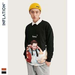 Image 3 - INFLATION Men Sweatshirt Children Print Fleece Men Sweatshirt In Orange And BLack Men Loose Fit Streetwear Men Sweatshirt 9630W