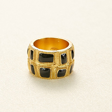 Hot Brand Fashion Copper Jewelry For Women Black Gold Color Rings Egyptian Pharaoh Deisgn Jewelry Fashion Light Gold Color Rings