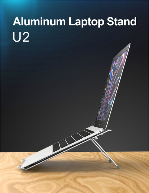 COOLCOLD Laptop Stand Height Adjustable Aluminum Laptop Riser Holder Portable Ergonomic Notebook to 17 inch for MacBook Air Pro 2