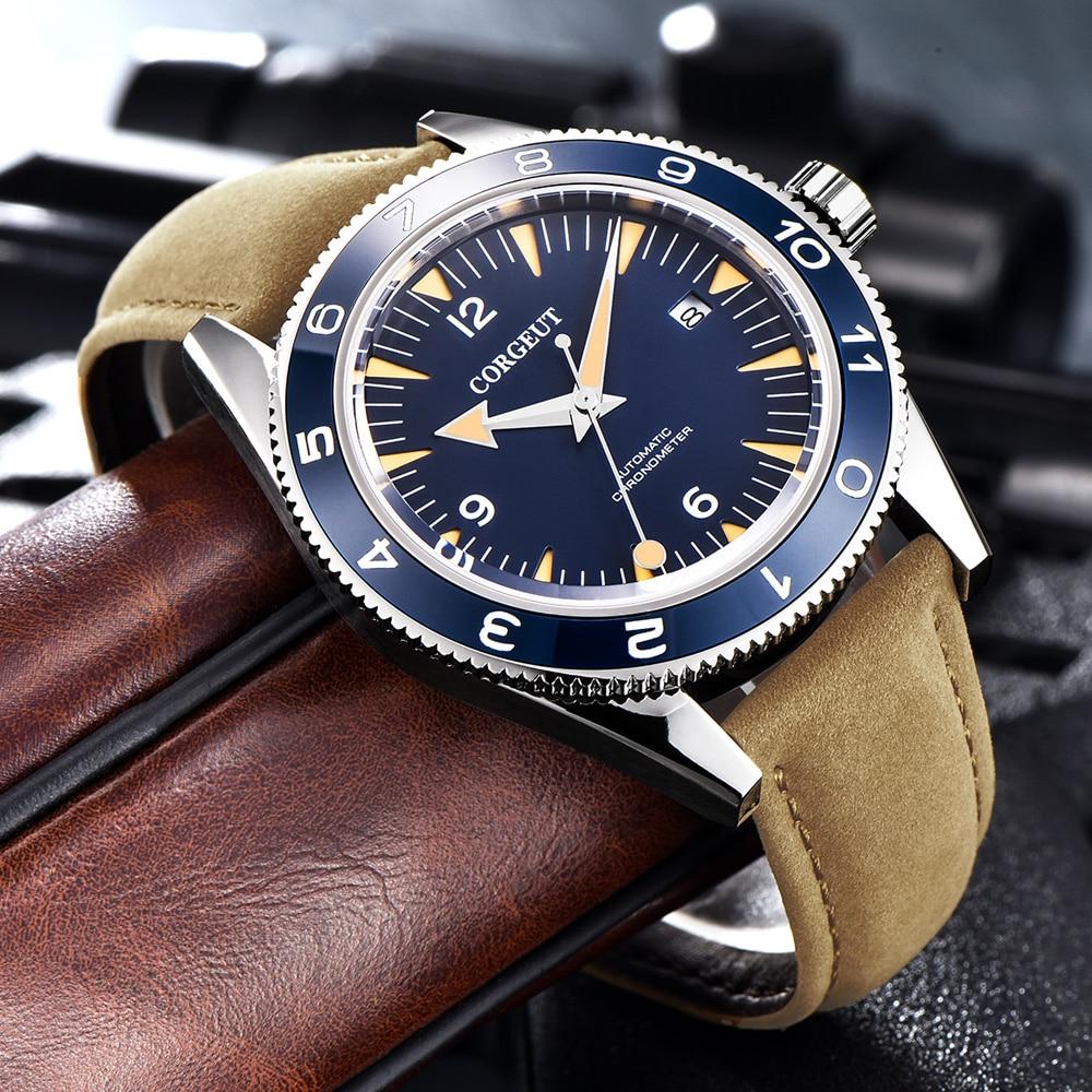 Corgeut Luxury Brand Seepferdchen Military Mechanical Watch Men Automatic Sport Design Clock Leather Mechanical Wrist Watches Sports Watches     - title=