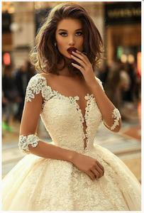 Image 4 - Robe de mariée élégante à manches 2020, robe de mariée élégante, modèle 3/4