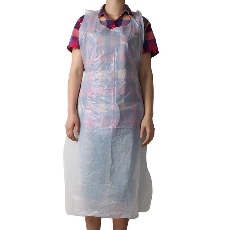 10 sztuk/zestaw jednorazowe fartuchy plastikowe fartuch przeciw zabrudzeniom przezroczyste fartuchy kobiety gotowania mężczyźni fartuch kuchenny sprzątanie domu fartuch przeciw zabrudzeniom