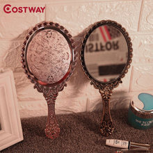 Портативное винтажное мини зеркало costway ручное для макияжа