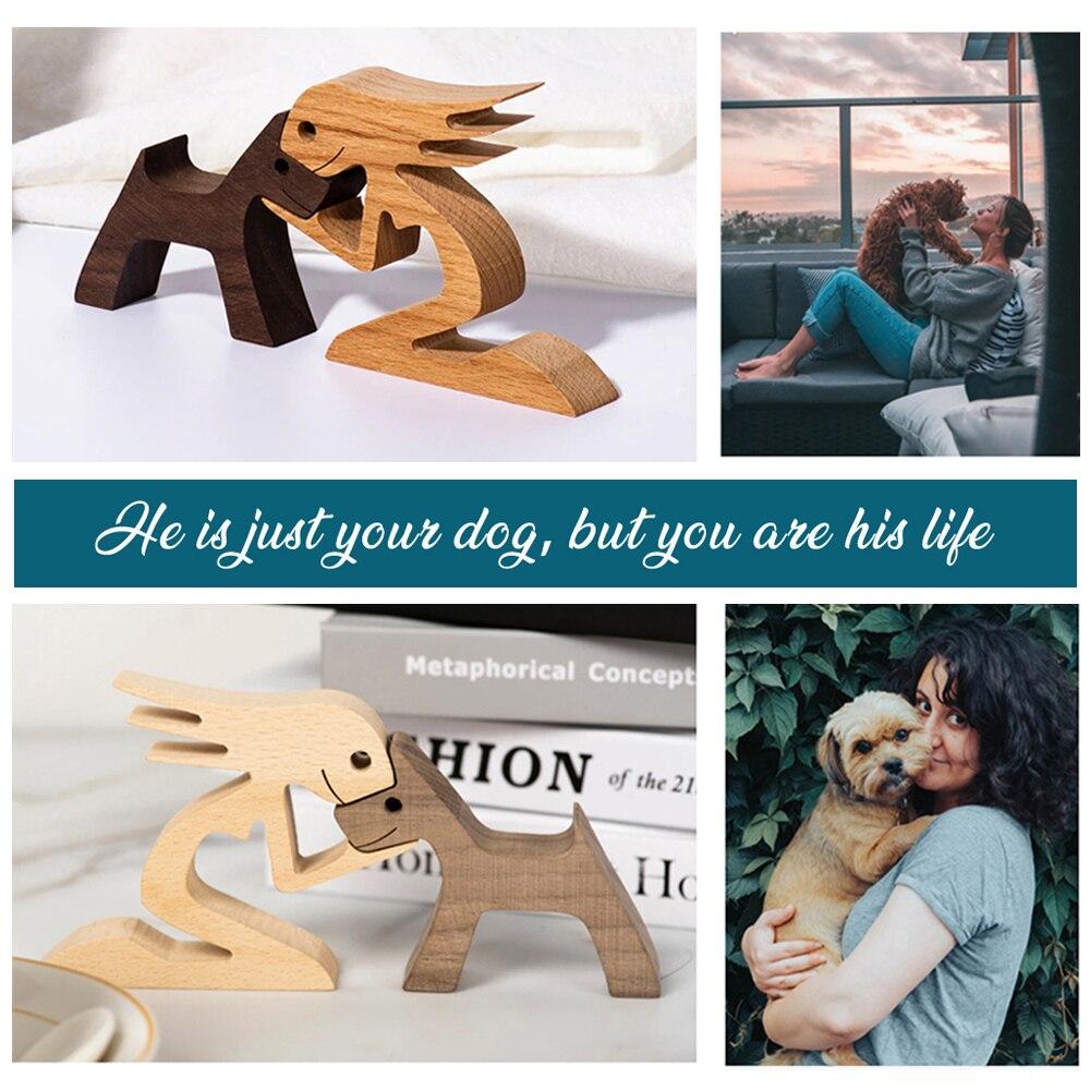 Деревянная фигурка ручной работы, домашний декор, украшения, деревянный щенок, резьба по человеку, собака, стол, Декоративная скульптура, ме...