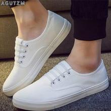 Spring white Men Canvas Shoes Men's Fashion Solid Comfortable flat Casual Shoes Men Light Summer Loafers Shoes Plus Size 44 m14 snj men s stylish casual canvas shoes blue white eu size 44