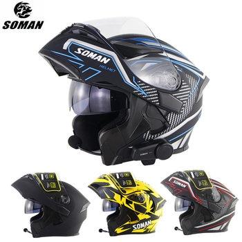 цена на SOMAN Bluetooth Helmet Flip Up Visor Dual Lens Casco Moto Cool Motorcycle Helmet Full Face Casco Black Motorbike Helmets Modular