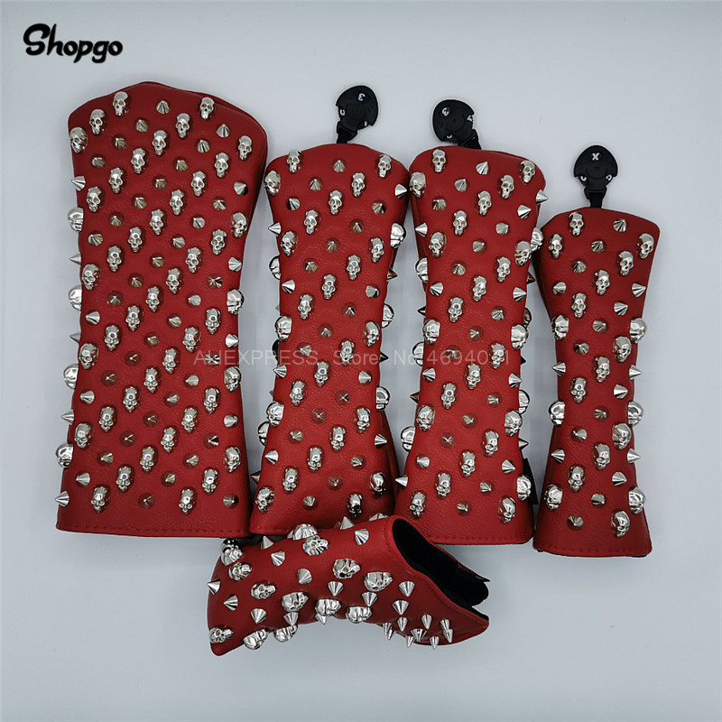 [Silver Skull Rivets] Red PU Golf Driver Headcover Fairway Woods Hybrid Putter Club Covers Complete Set Novelty Gift