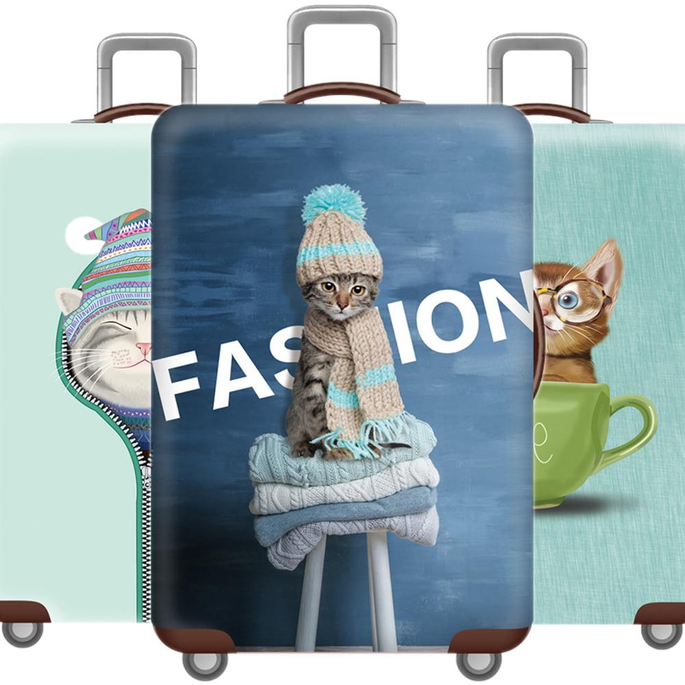 Kawaii Animal Luggage Cover 3D Cat Protective Case Thicken Waterproof Elastic Dog Suitcase Cover 18-32 Ince XL Travel Accessorie