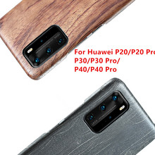 For Huawei P40/P30/P30 Pro/P30 Lite/P20 /P20 Pro/P20 Lite walnut Enony Wood Rosewood MAHOGANY Wooden Back Case Cover