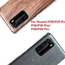 Noz de tons para huawei p40/p30/p30 pro/p30 lite/p20/p20 pro/p20 lite capa de madeira de mogno