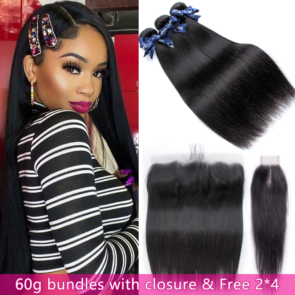 60g Malaysian Hair Weave Bundles With Frontal & Free 2*4 Straight Hair Bundles With Closure Human Hair Bundles With Frontal