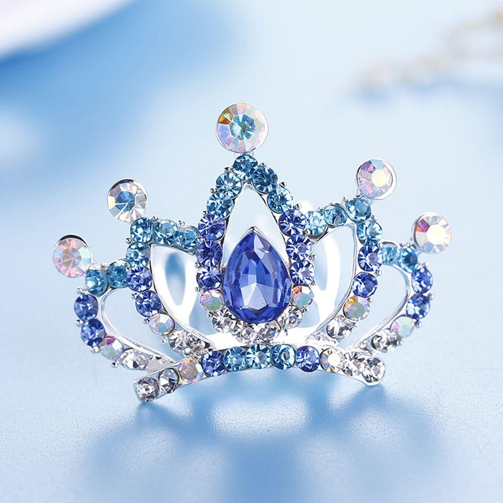 Girls Kids Hair Jewelry Accessories Mini Cute Flower Crystal Rhinestone Princess Crown Hair Comb Birthday Party Tiaras
