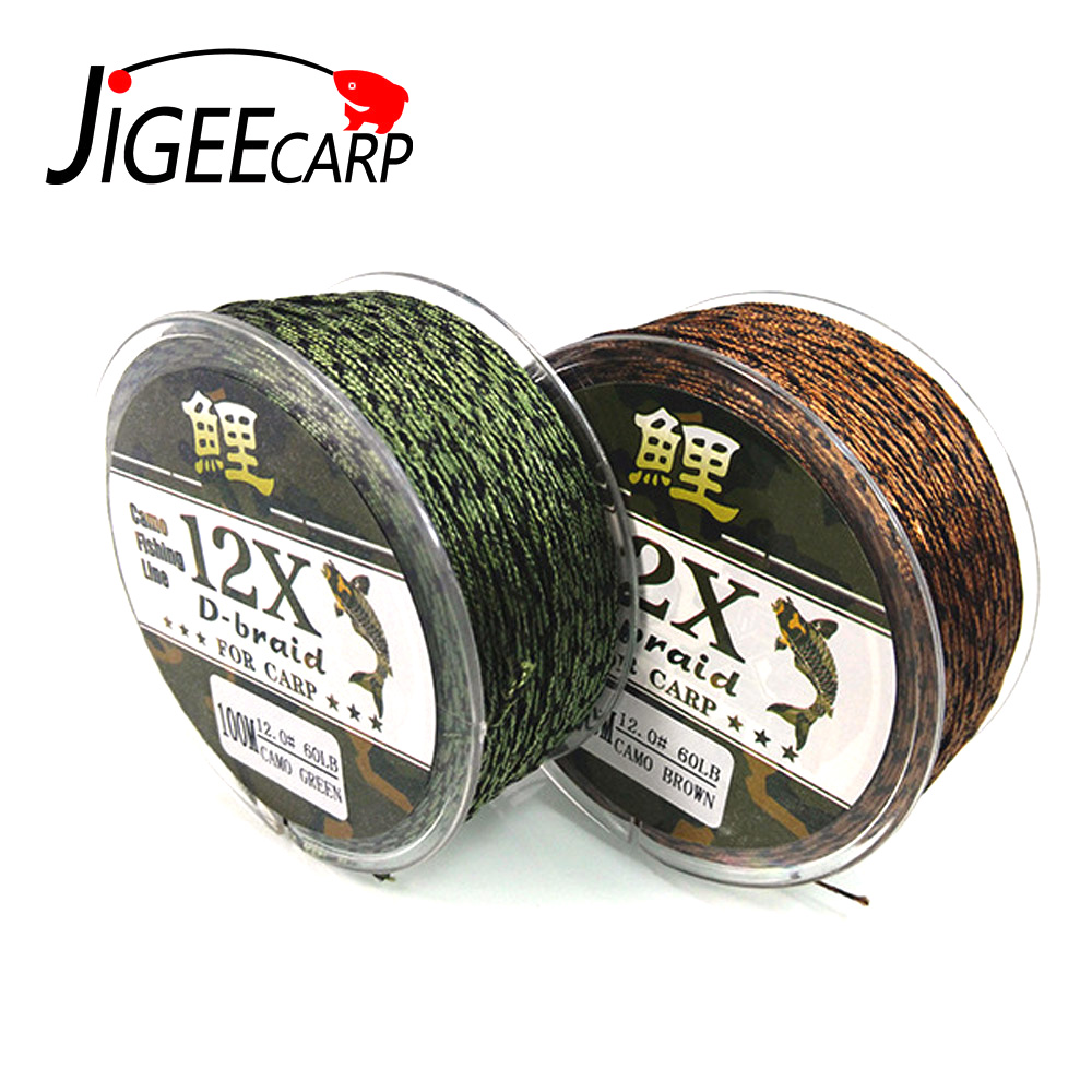 JIGEECARP 50m/100m Carp Fishing Rig Braid Line Brown Green Color Rig Lines Coarse Level Sink Line 25LB 35LB 45LB 60LB