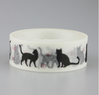 15mm*10m Black Cat Adhesive Washi Tape(1piece)