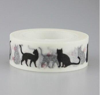 15mm*10m Black Cat Adhesive Washi Tape(1piece)