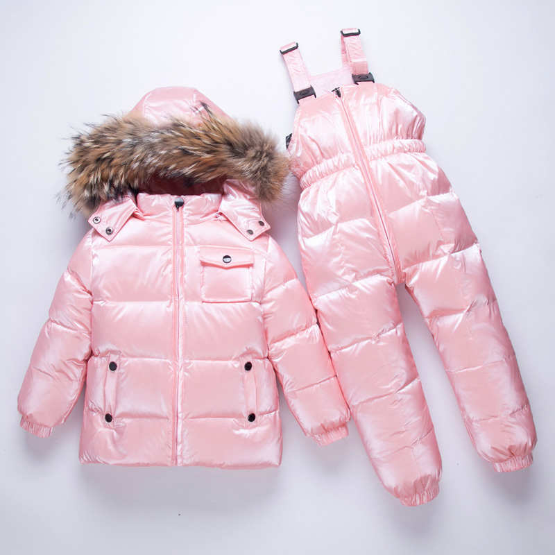 New children's suit boys and girls winter down skiing clothes 2 sets 2-9 years old natural Raccoon Fur Collar - 30 degree clothe