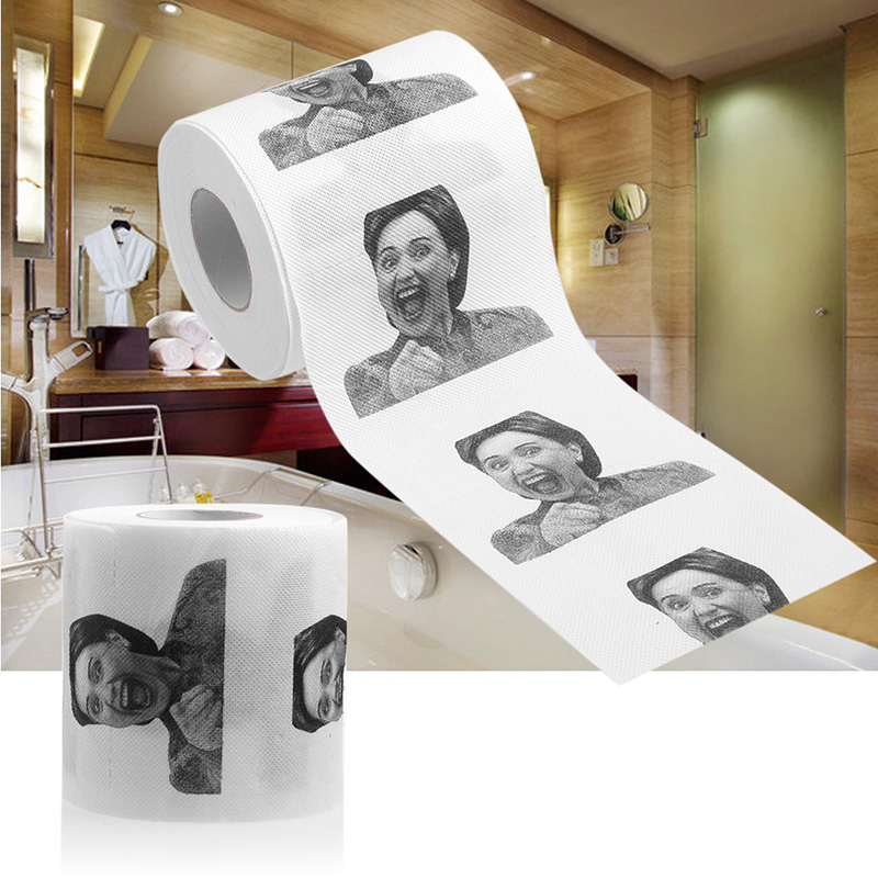 1Pc Hillary Clinton Toilet Paper Tissue Roll Funny Prank Joke Gift 2Ply 240Sheet