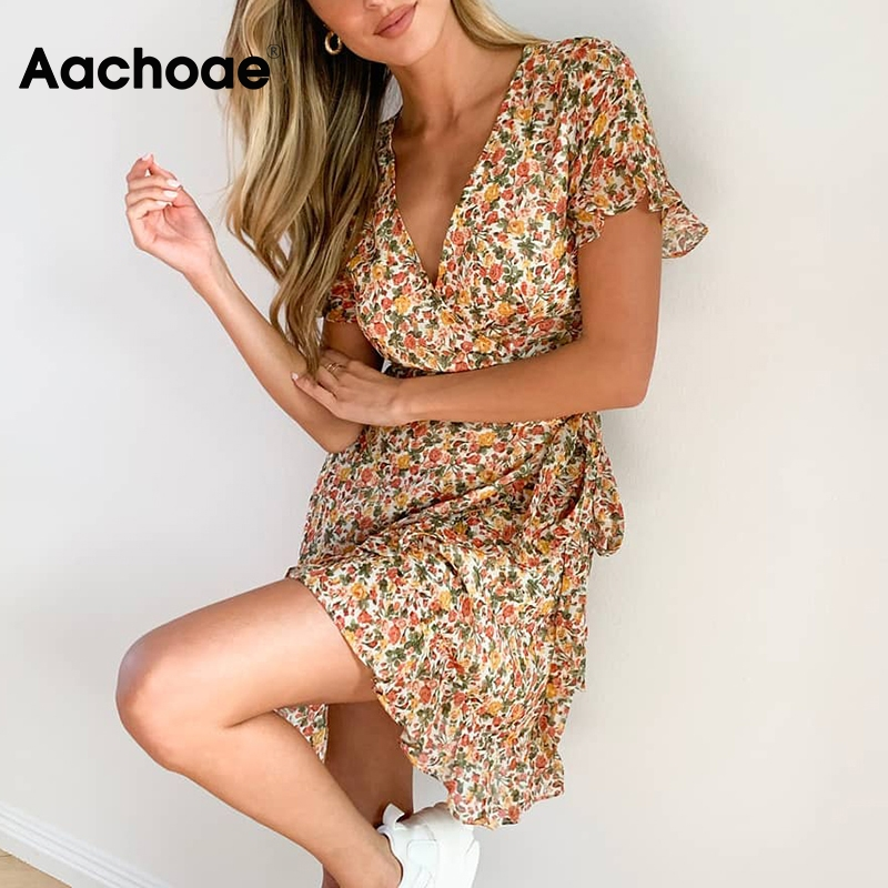 Aachoae Summer Boho Beach Dress Women Floral Print Ruffle Wrap Dress 2020 Sexy V Neck A Line Chiffon Mini Sundress Robe Femme