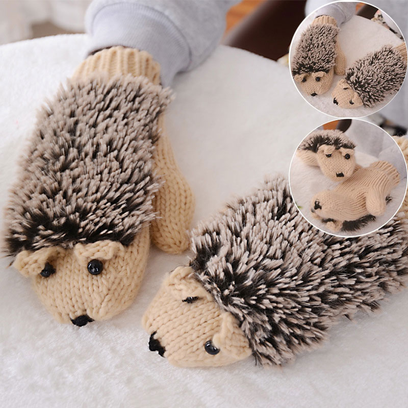 Cute Hedgehog Gloves Women Winter Warmer Knitted Crochet Wrist Cartoon Fleece Mittens Outdoor Gifts EIG88