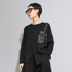 Image 2 - [EAM] Delle Donne Fibbia Nera Punto di Grande Formato T Shirt Asimmetrica New Girocollo a Manica Lunga di Modo di Marea di Autunno della Molla 20201D679