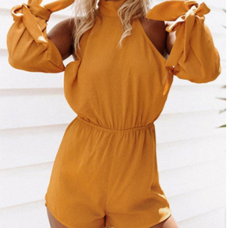 Women Sexy Backless Playsuit Summer Beach Loose Solid Color Rompers Sexy Off Shoulder Bow Playsuit Female Casual Clothing