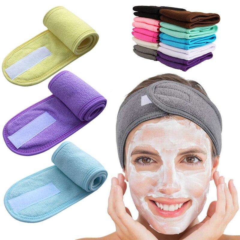 Регулируемый широкий ободок для волос для йоги, спа-ванны, душа, макияжа, мытья лица, косметическая повязка для женщин, женские аксессуары дл...