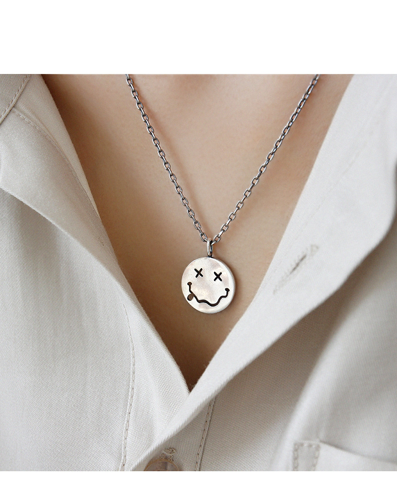 Hc2dade607d2f46b9a77e3d9e9848f0958 - F.I.N.S Retro Old Portrait Smile Face S925 Sterling Silver Necklace Double Side Coin Tag Necklace Pendant Vintage Chain Ornament
