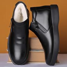 Männer Herbst Echtem Leder Stiefel Mit Pelz Winter Männer Mode Stiefeletten Business Casual Mann Schnee Stiefel Arbeit Schuhe 658